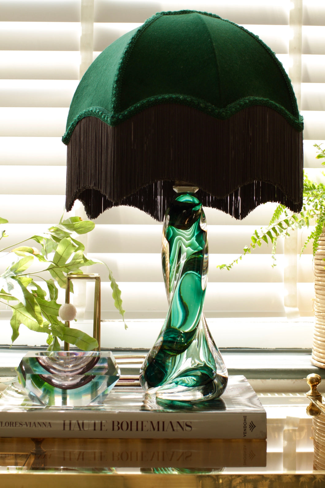 Emerald Green Val St Lambert Lamp Base