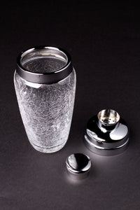 Crackle Glazed Glass Cocktail Shaker