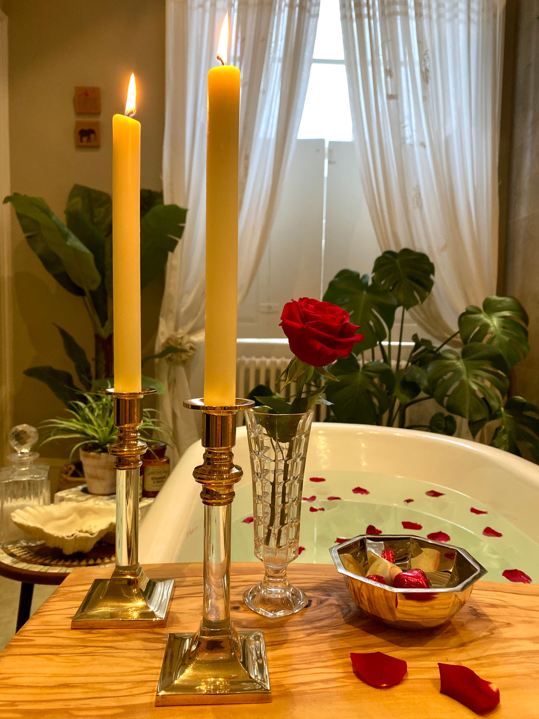 Vintage Lucite and Brass Candle Holders