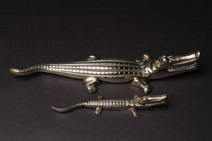 Large Brass Crocodile Nutcracker