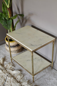 Table Occasional Mid-Century Marble and Brass