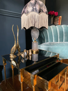 Tables Nest in Gold and Smoked Mirror Glass Mid-Century 'Maison Charles'