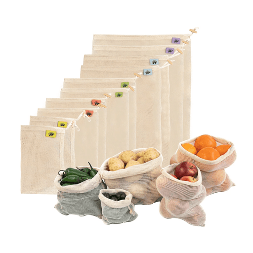 Cotton Net Produce Bags with Wood Toggles