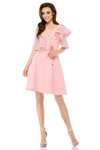 One Cold Shoulder, Pink Dress With Ruffle