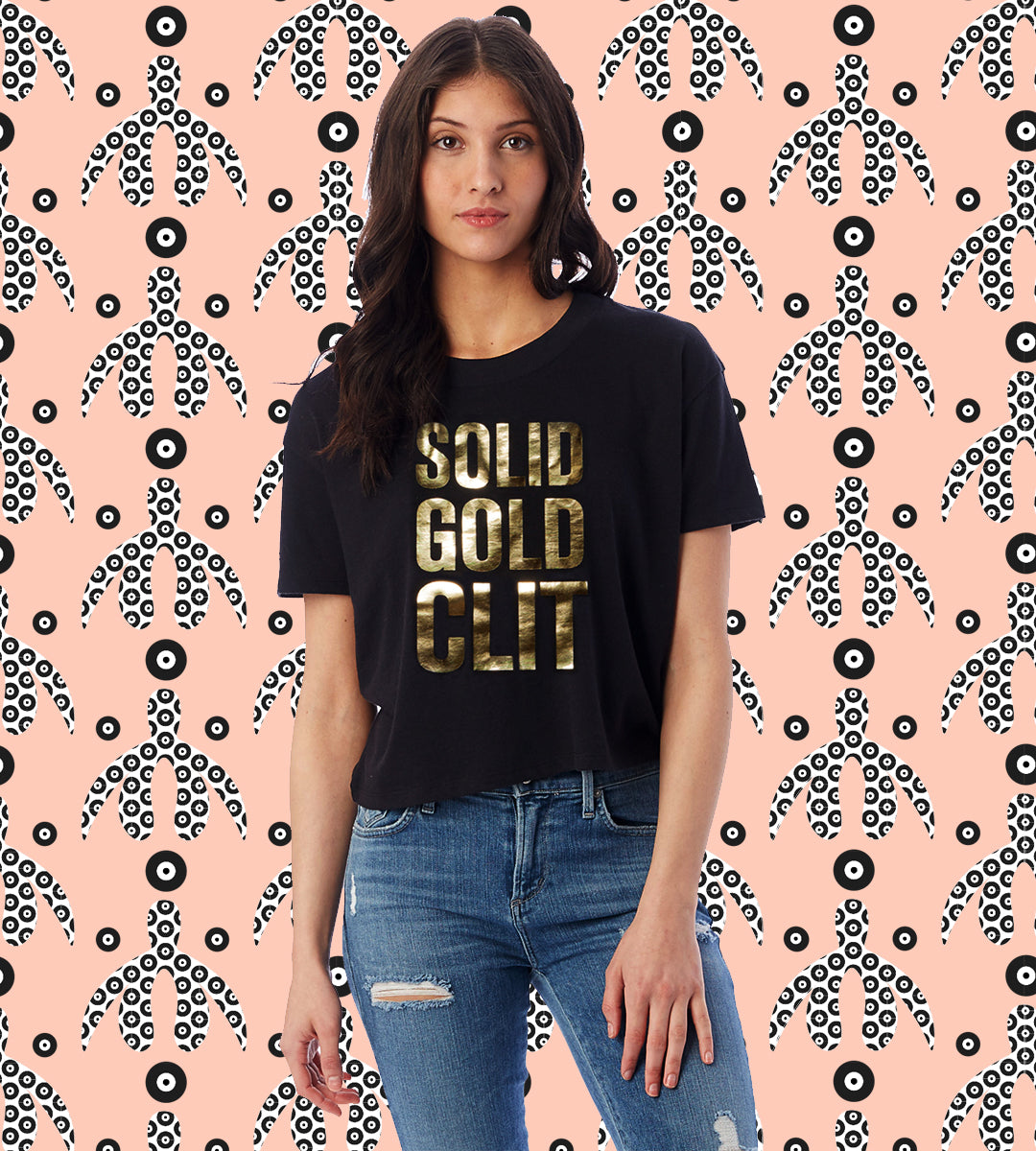 SOLID GOLD | Cliteracy Cropped T-Shirt