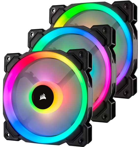 Corsair LL120 RGB Dual Light Loop RGB LED PWM Fan 3 Fan Pack with Lighting Node PRO,CO-9050072-WW
