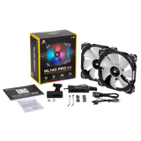 Corsair ML140 PRO RGB LED 140MM PWM Premium Magnetic Levitation Fan Twin Fan Pack with Lighting Node PRO,CO-9050078-WW
