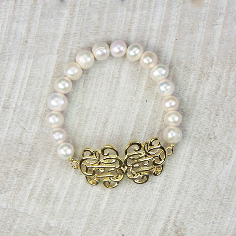 Seasons Jewelry Pearl Faux Monogram Stretch Bracelet