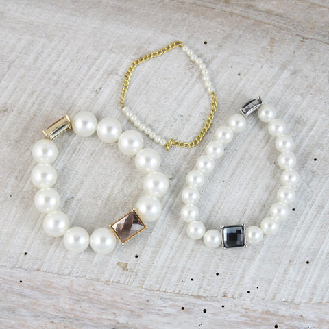 Pearl and Crystal Stretch Bracelet Set