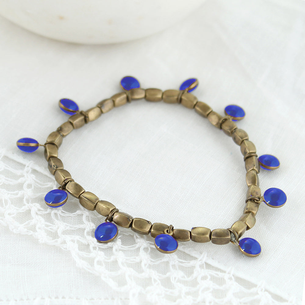 Vintage Enamel Dot Stretch Bracelet - Blue