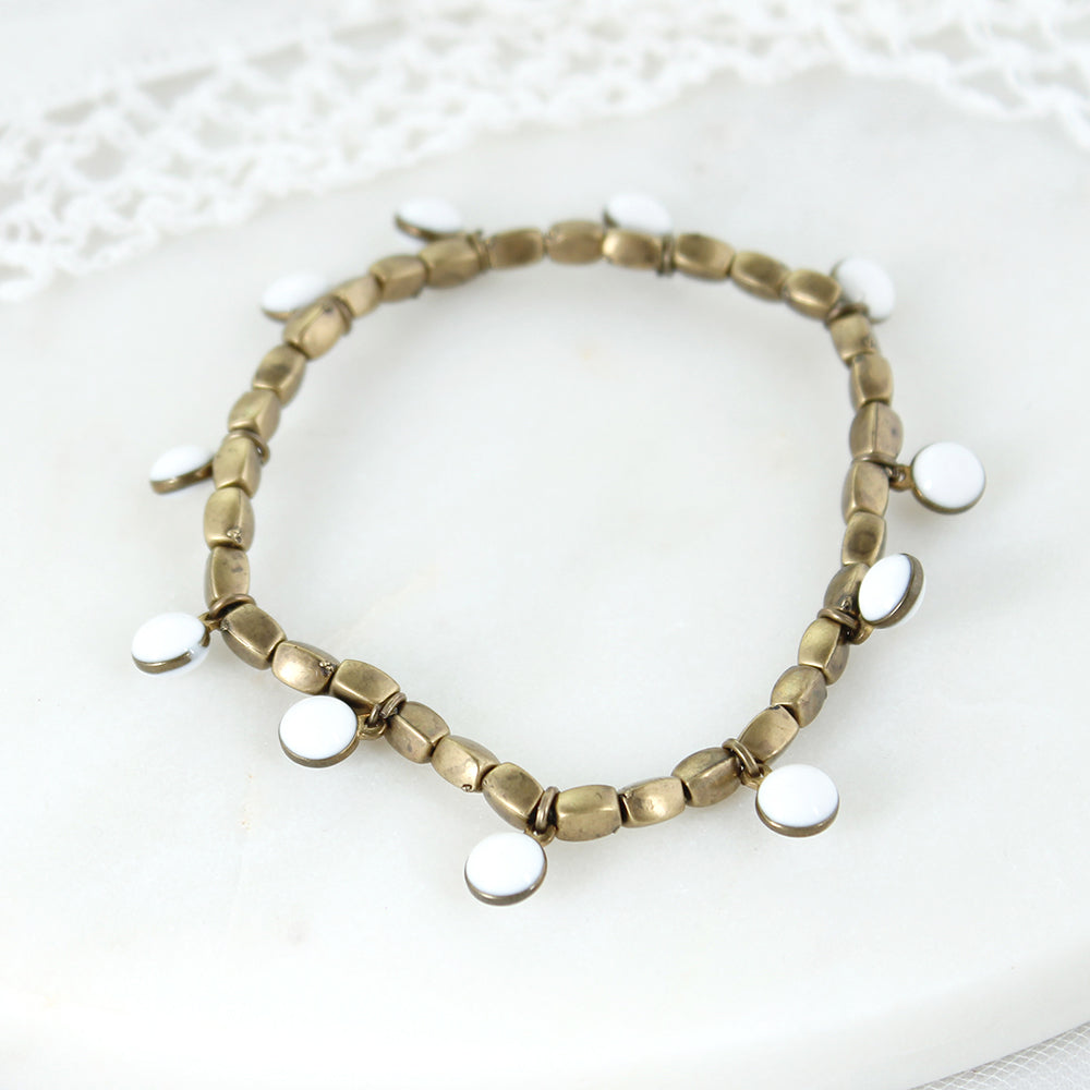 Vintage Enamel Dot Stretch Bracelet - White