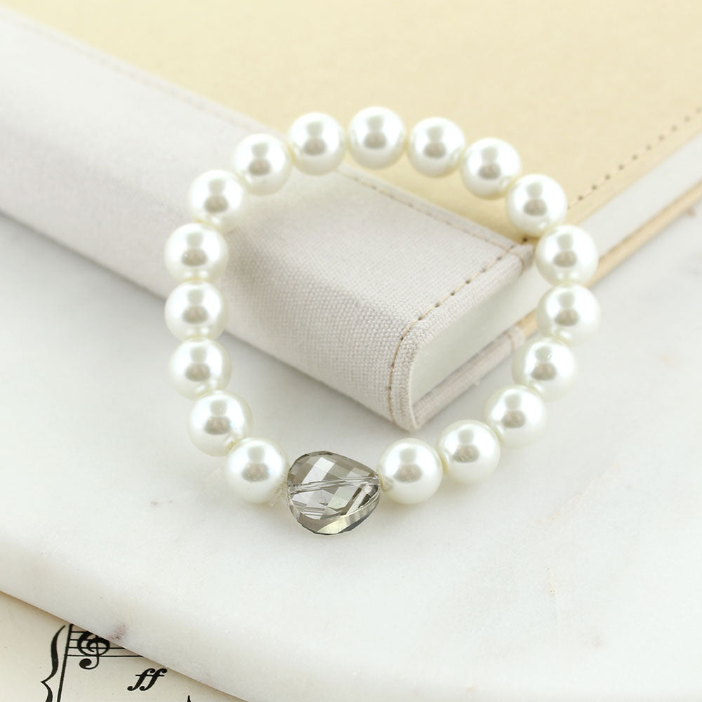 Pearl Stretch Bracelet w/ Gray Crystal