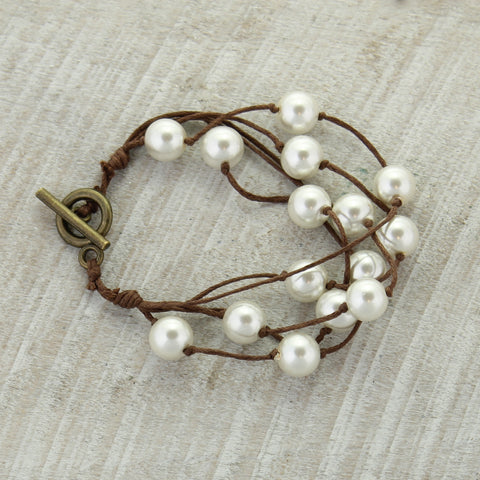 Brown Cord & White Pearl Toggle Clasp Bracelet
