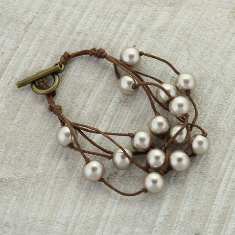 Brown Cord & Champagne Pearl Toggle Clasp Bracelet