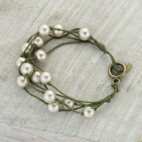 Olive Cord & Champagne Pearl Toggle Clasp Bracelet