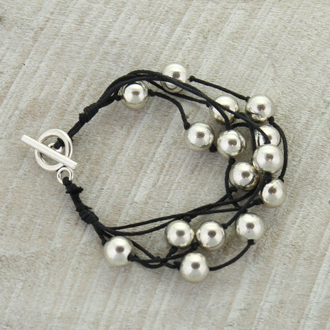 Black Cord & Silver Bead Toggle Clasp Bracelet