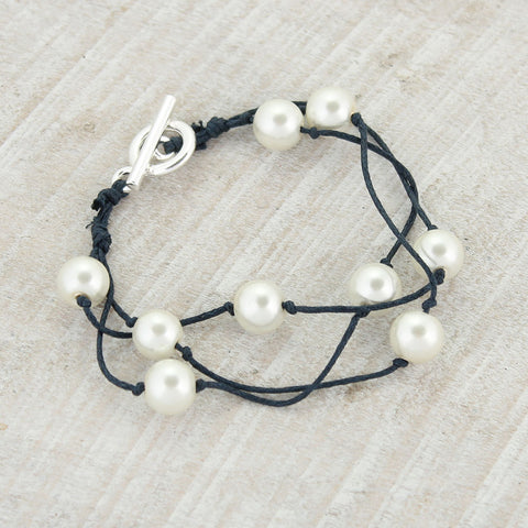 Navy Cord & Pearl Toggle Clasp Bracelet