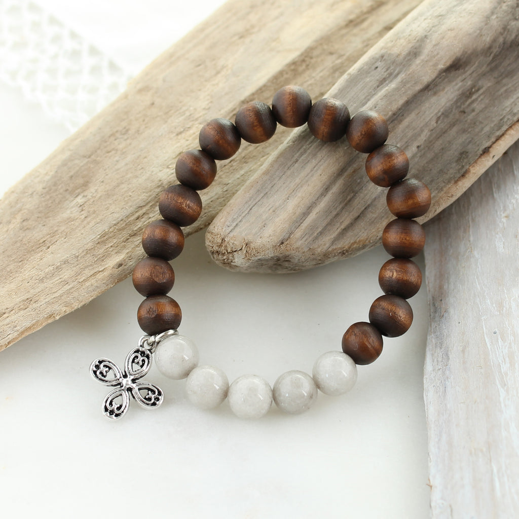 Gray Stone & Wood Bead Stretch Bracelet