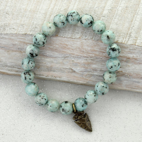 Speckled Blue Stone Bracelet with Arrowhead
