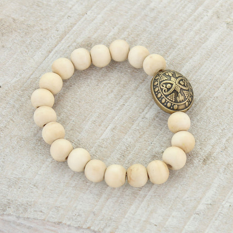 Natural Wood Bead Bracelet