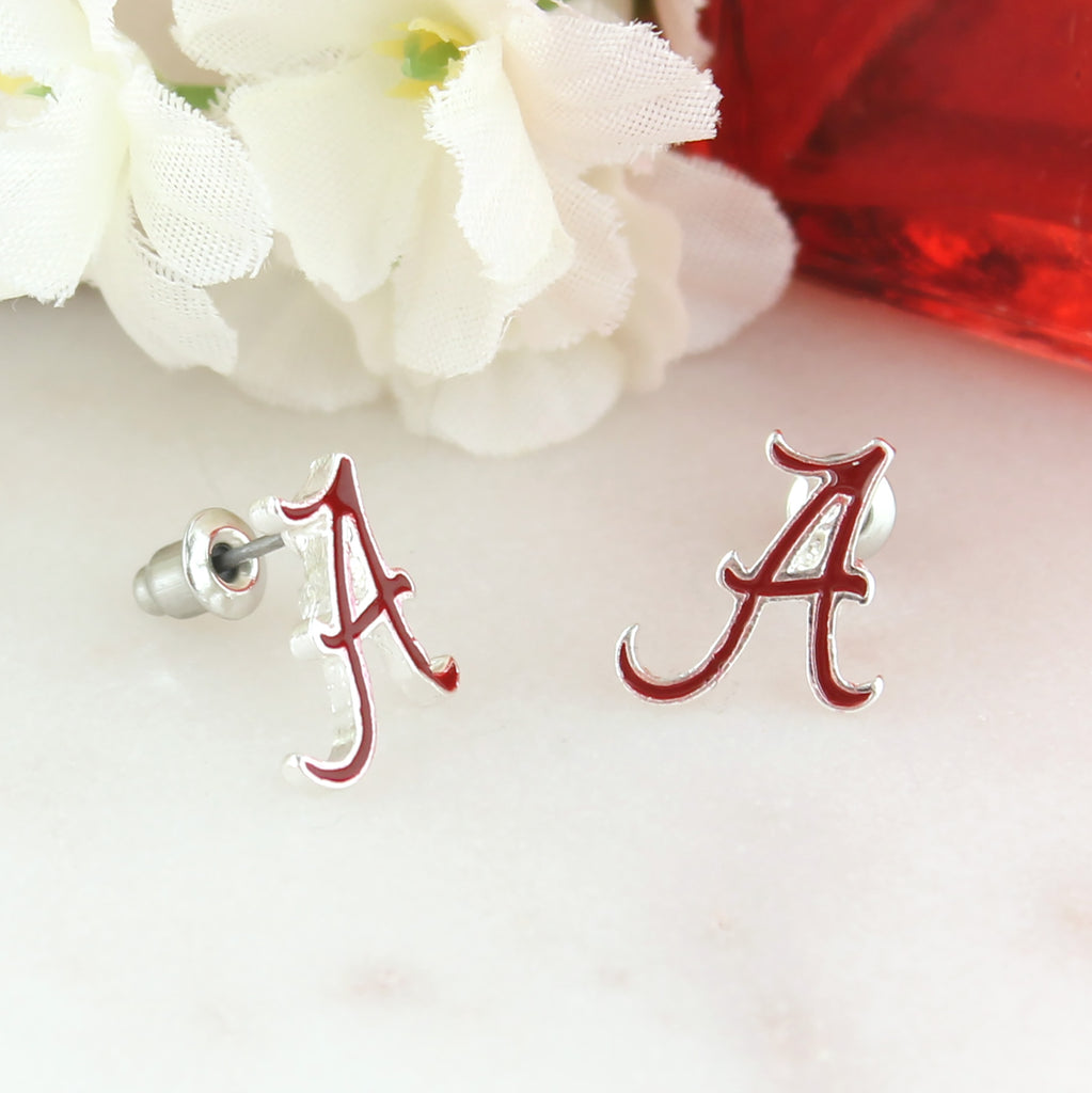 Alabama Enamel Logo Stud Earrings