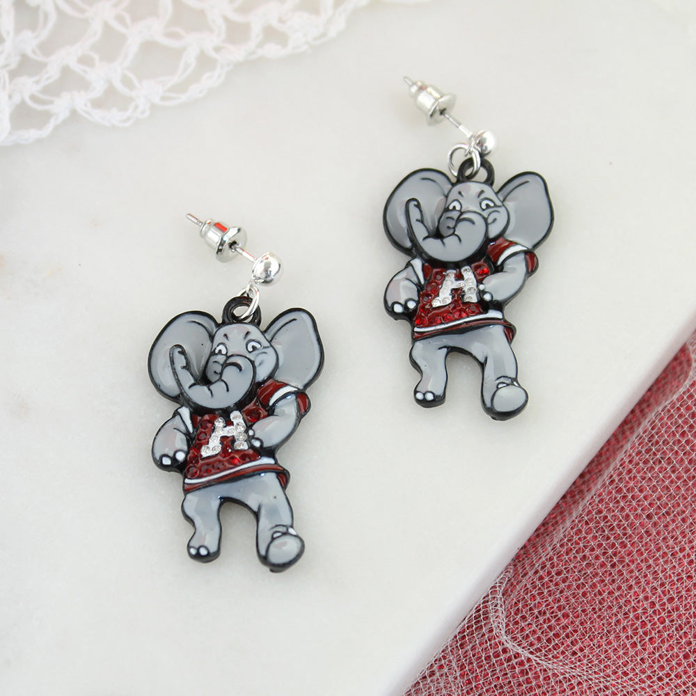 "Alabama ""Big Al"" Crystal Logo Earrings"
