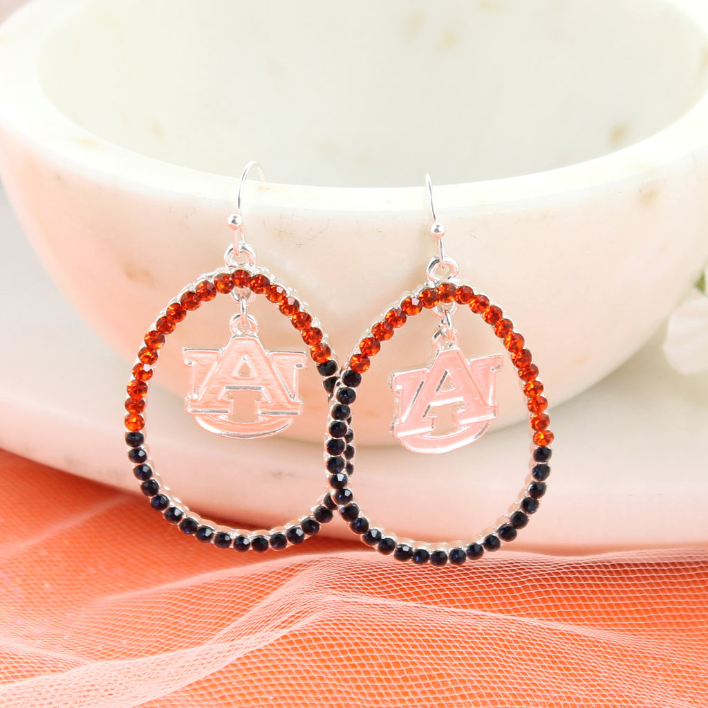 Auburn Crystal Loop Earrings
