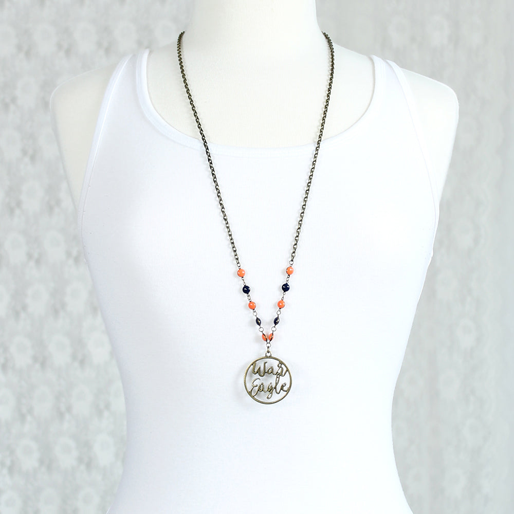"34"" Auburn Vintage Style Cutout Slogan Necklace"
