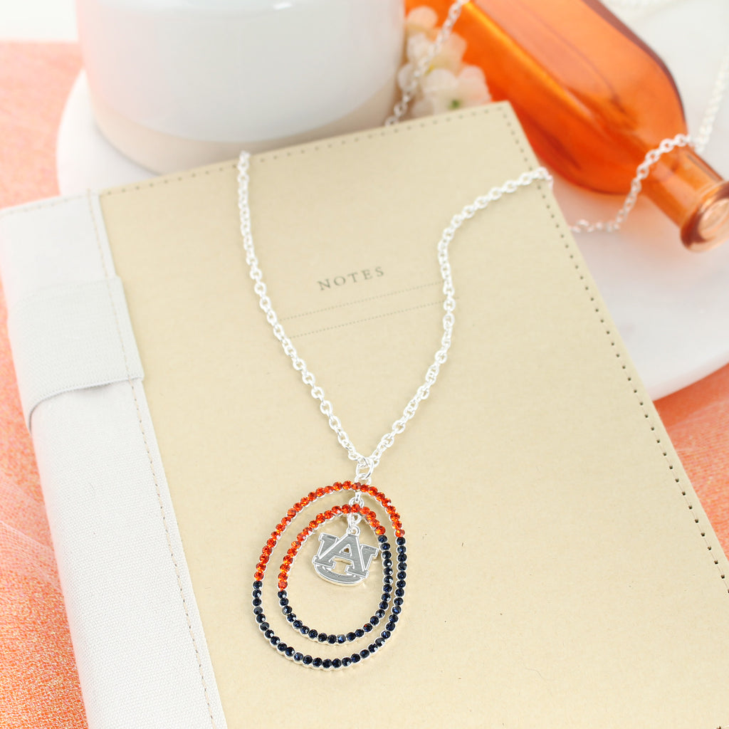 "34"" Auburn Crystal Loop Necklace"