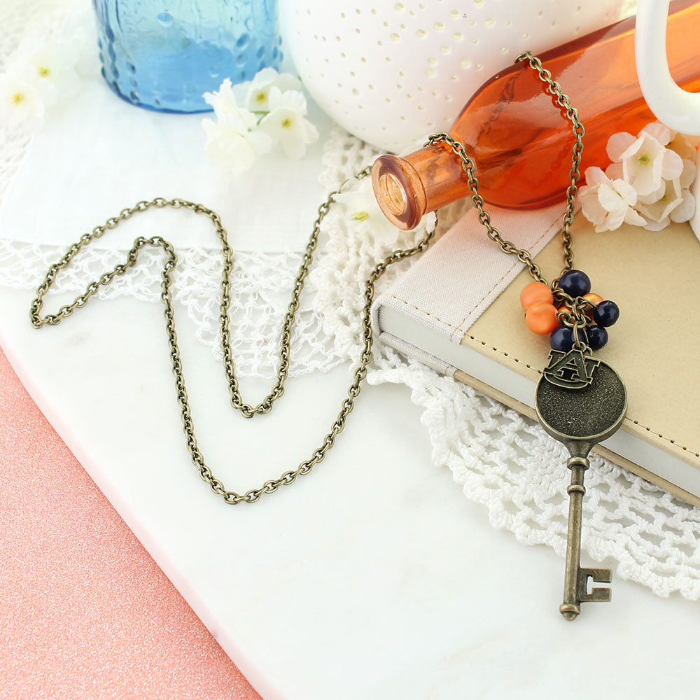 "36"" Auburn Vintage Style Logo w/ Key and Pearl Cluster Necklace"