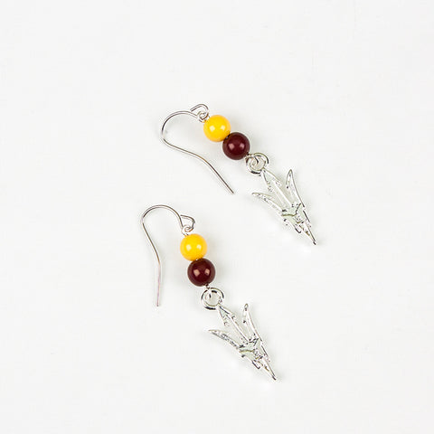 Arizona State Logo Bead Earrings