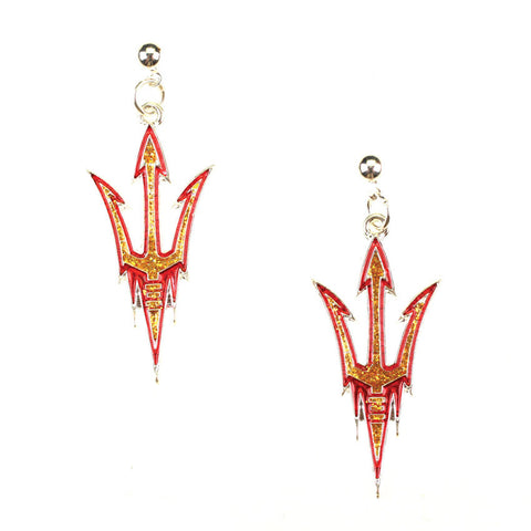 Seasons Jewelry Arizona State Crystal Logo Earrings