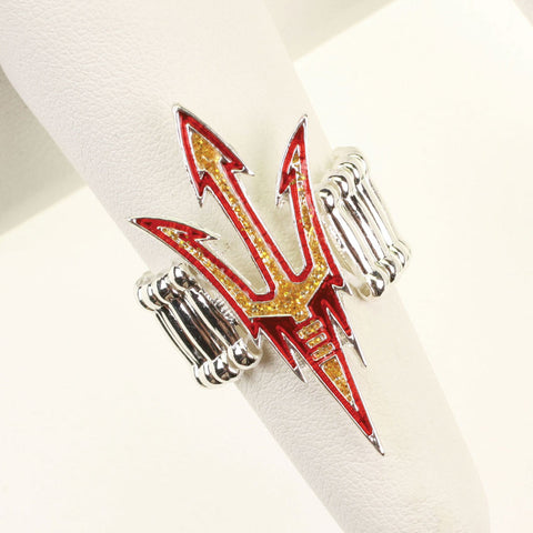 Seasons Jewelry Arizona State Crystal Logo Stretch Ring