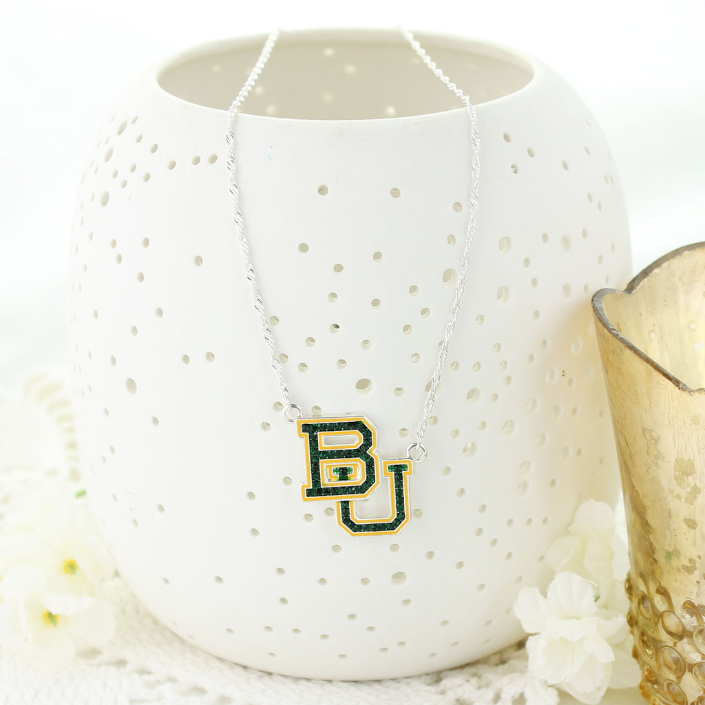 Baylor Crystal Logo Necklace