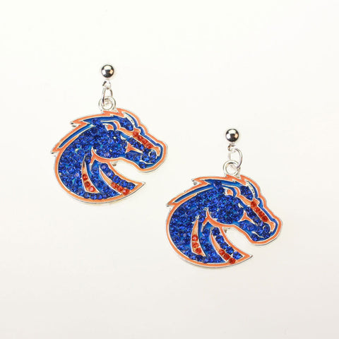 Seasons Jewelry Boise State Crystal Logo Earrings