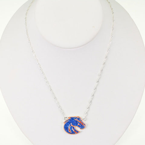 Seasons Jewelry Boise State Crystal Logo 17 inch Necklace