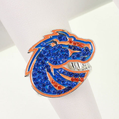 Seasons Jewelry Boise State Crystal Logo Stretch Ring