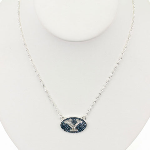 Seasons Jewelry BYU Crystal Logo 17 inch Necklace