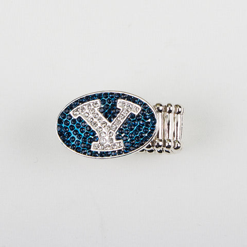 BYU Crystal Logo Stretch Ring