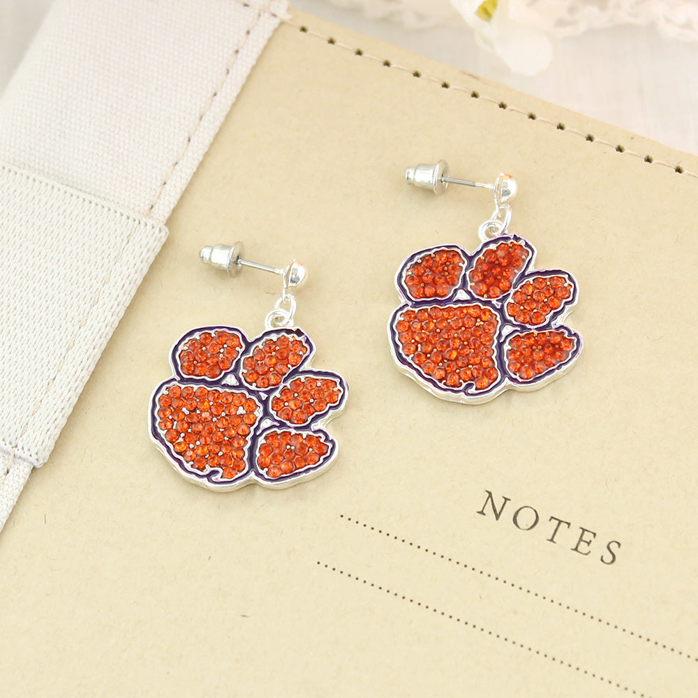 Clemson Crystal Logo Earrings