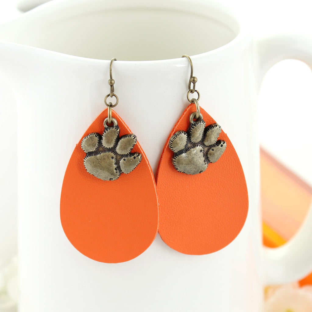 Clemson Vintage Style Logo Leather Teardrop Earrings