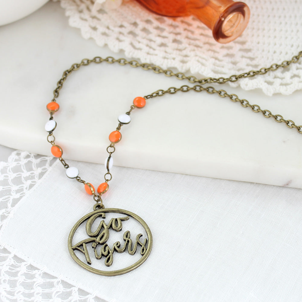 "34"" Clemson Vintage Style Cutout Slogan Necklace"