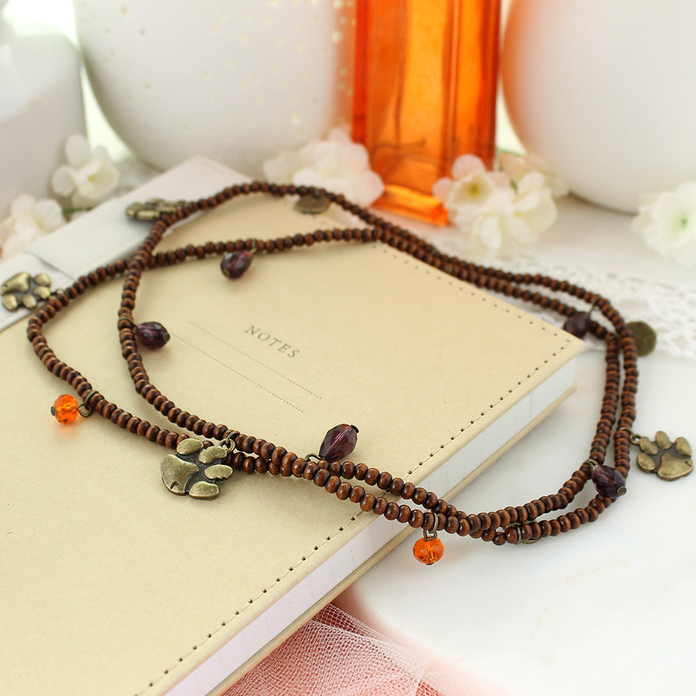 Clemson Wood Bead Stretch Necklace/Bracelet