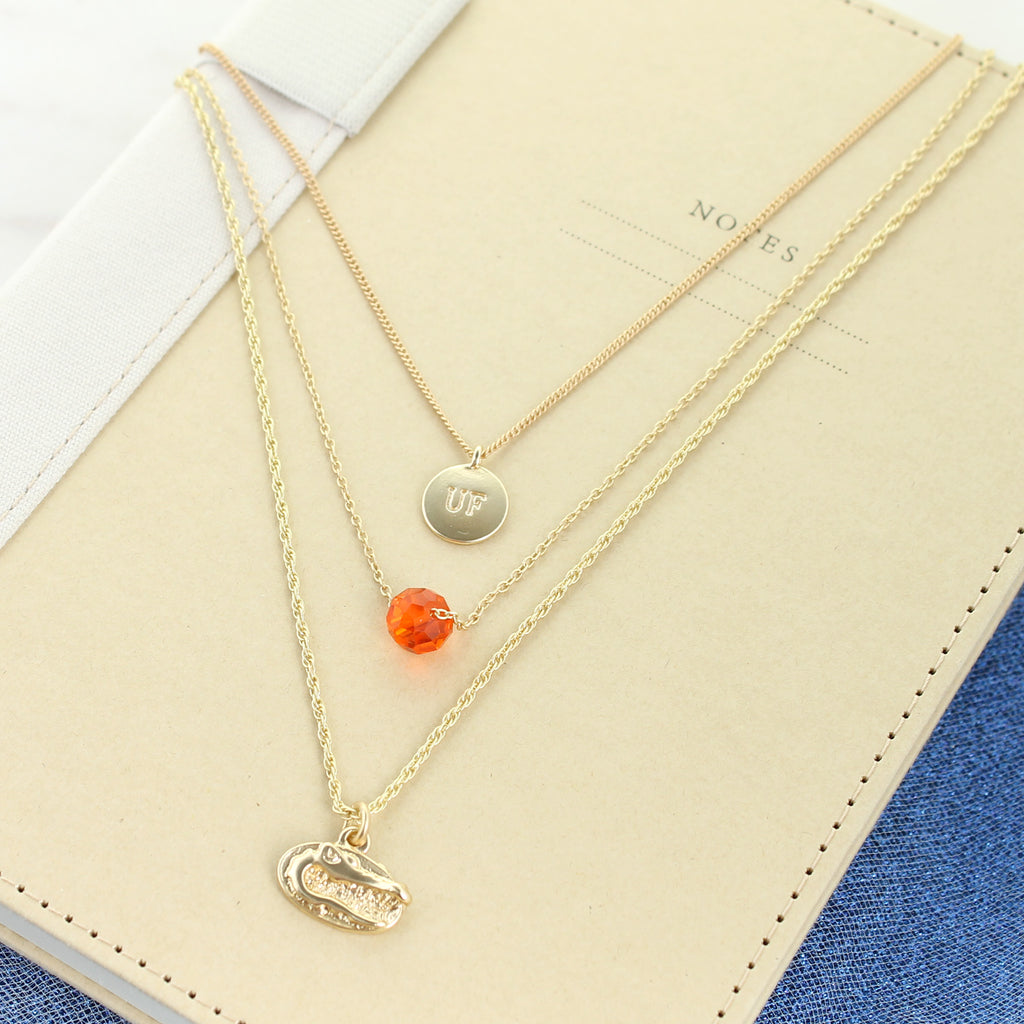 "16"" - 20"" Florida Matte Gold Logo Trio Necklace"