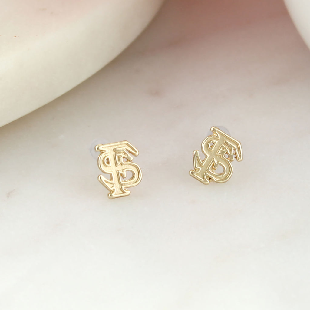 Florida State Matte Gold Logo Stud Earrings