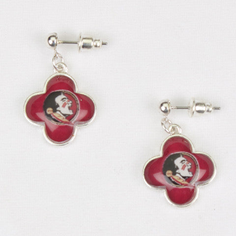 Seasons Jewelry Collegiate Florida State Quatrefoil Earrings