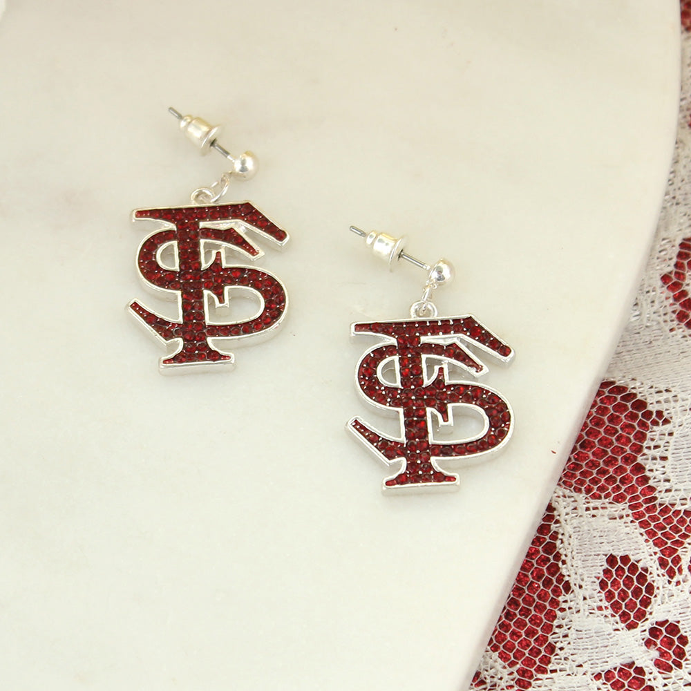 Florida State Crystal Logo Earrings