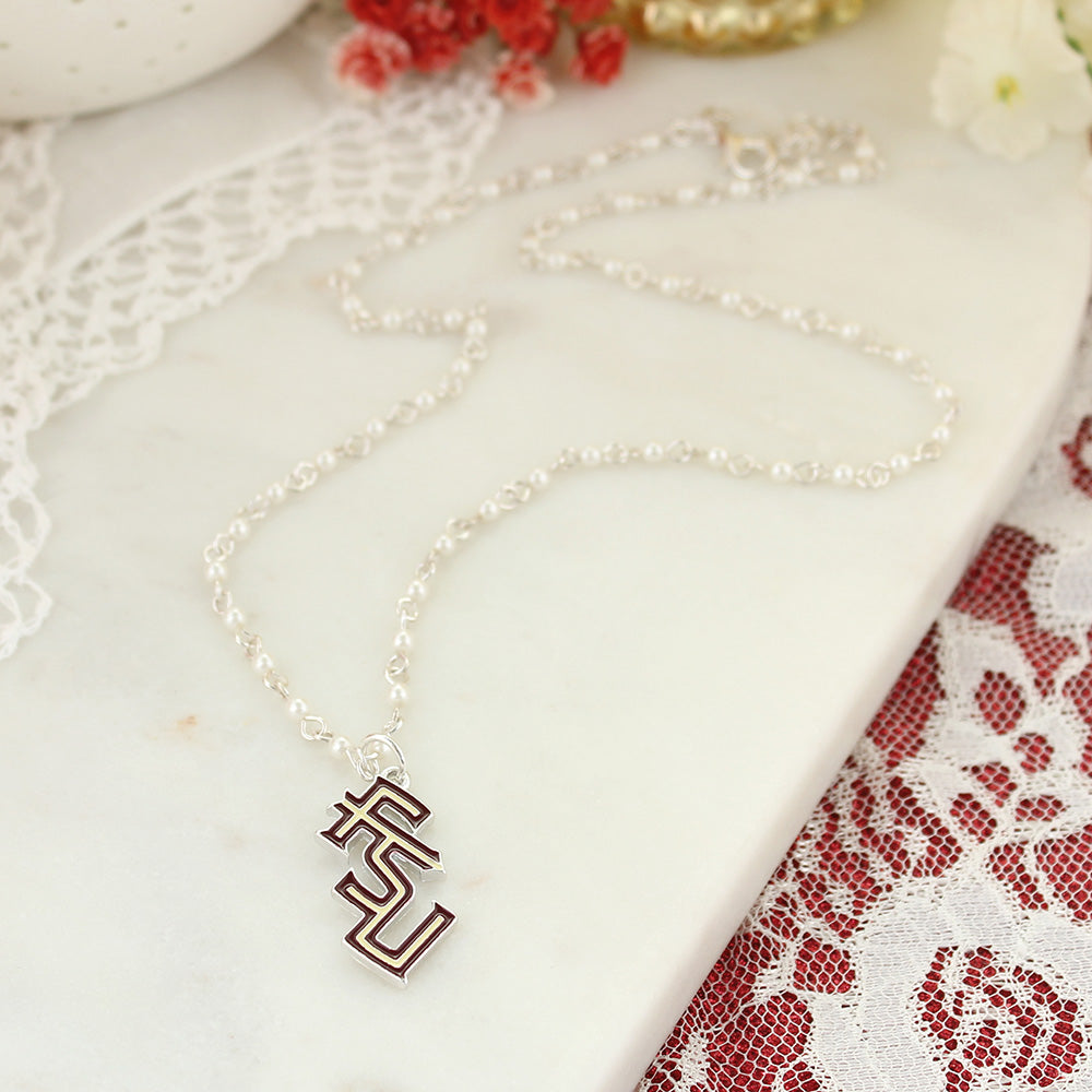 Florida State Enamel Logo & Pearl Necklace
