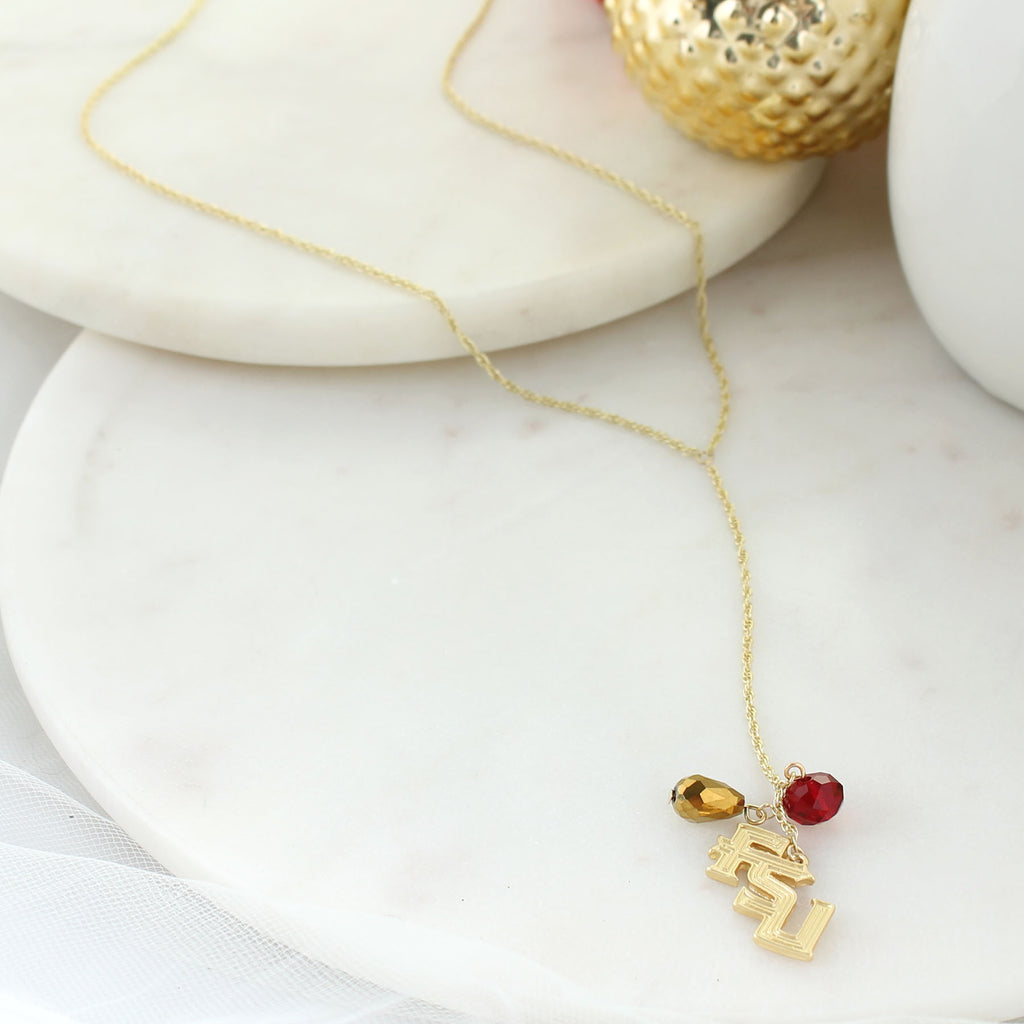 "32"" Florida State Matte Gold Logo Y-Necklace"
