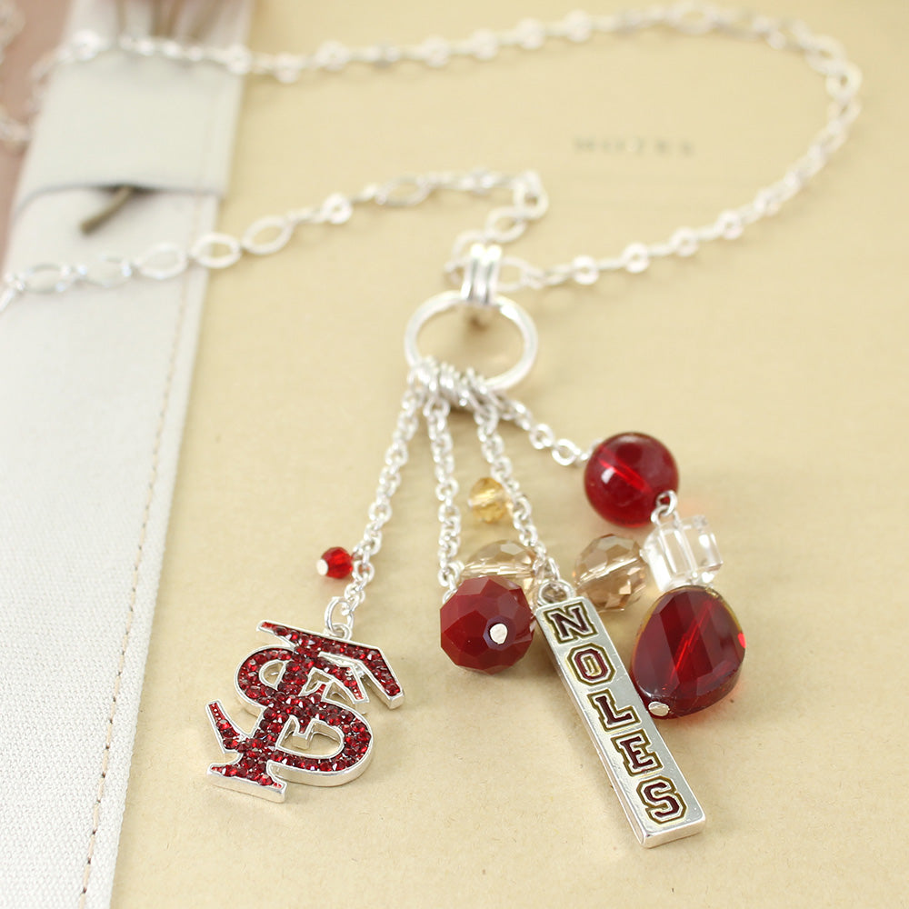 Siskiyou College Football Florida State Cluster Crystal Logo Necklace in Garnet and Gold